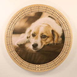 "Couch Puppy Cribbage Board-Cribbage Boards-11.5"" Diameter-Maple Plywood-Wooden Gift House"