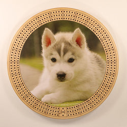 "Husky Puppy Cribbage Board-Cribbage Boards-11.5"" Diameter-Maple Plywood-Wooden Gift House"