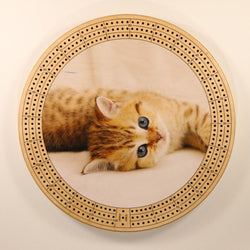 "Kitten Eyes Cribbage Board-Cribbage Boards-11.5"" Diameter-Maple Plywood-Wooden Gift House"