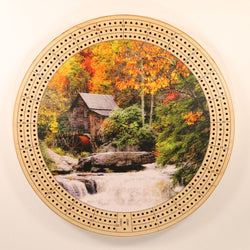 "Cabin Waterfall Cribbage Board-Cribbage Boards-11.5"" Diameter-Maple Plywood-Wooden Gift House"