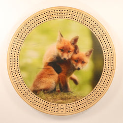 "Fox Pups Cribbage Board-Cribbage Boards-11.5"" Diameter-Maple Plywood-Wooden Gift House"