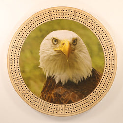 "Bald Eagle 1 Cribbage Board-Cribbage Boards-11.5"" Diameter-Maple Plywood-Wooden Gift House"