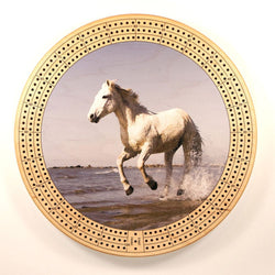 "Horse On Beach Cribbage Board-Cribbage Boards-11.5"" Diameter-Maple Plywood-Wooden Gift House"