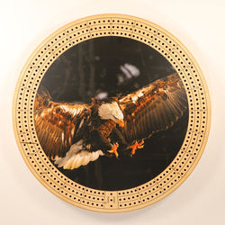 "Bald Eagle 2 Cribbage Board-Cribbage Boards-11.5"" Diameter-Maple Plywood-Wooden Gift House"