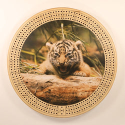 "Tiger Cub Cribbage Board-Cribbage Boards-11.5"" Diameter-Maple Plywood-Wooden Gift House"