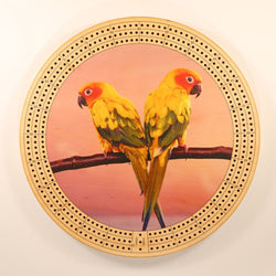 "Twin Parrots Cribbage Board-Cribbage Boards-11.5"" Diameter-Maple Plywood-Wooden Gift House"