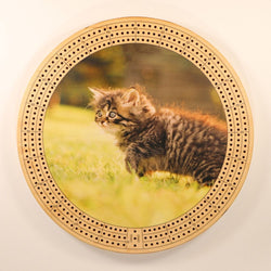 "Sneaky Kitten Cribbage Board-Cribbage Boards-11.5"" Diameter-Maple Plywood-Wooden Gift House"