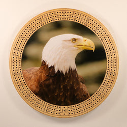 "Bald Eagle Cribbage Board-Cribbage Boards-11.5"" Diameter-Maple Plywood-Wooden Gift House"