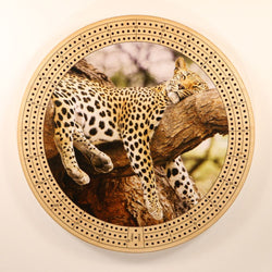 "Sleeping Leopard Cribbage Board-Cribbage Boards-11.5"" Diameter-Maple Plywood-Wooden Gift House"