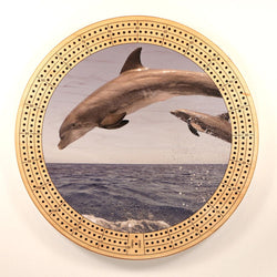 "Dolphin Cribbage Board-Cribbage Boards-11.5"" Diameter-Maple Plywood-Wooden Gift House"