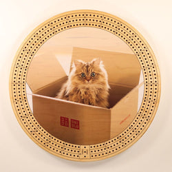 "Kitten In Box Cribbage Board-Cribbage Boards-11.5"" Diameter-Maple Plywood-Wooden Gift House"