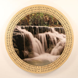 "Waterfall 2 Cribbage Board-Cribbage Boards-11.5"" Diameter-Maple Plywood-Wooden Gift House"