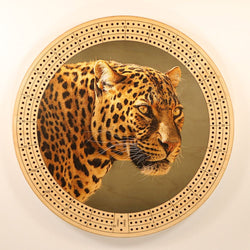 "Leopard Eyes Cribbage Board-Cribbage Boards-11.5"" Diameter-Maple Plywood-Wooden Gift House"