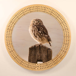 "Owl Cribbage Board-Cribbage Boards-11.5"" Diameter-Maple Plywood-Wooden Gift House"