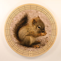 "Baby Squirrel Cribbage Board-Cribbage Boards-11.5"" Diameter-Maple Plywood-Wooden Gift House"