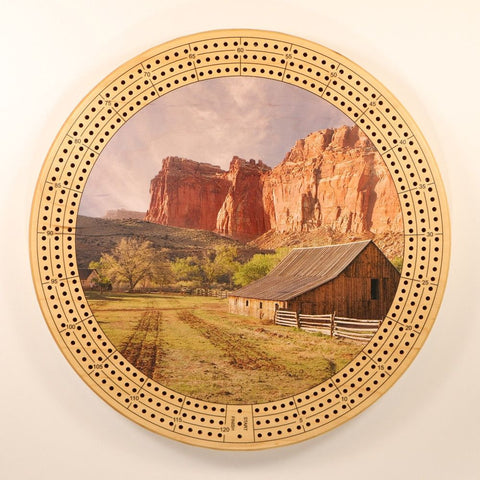 "Farm Landscape Canyon Cribbage Board-Cribbage Boards-11.5"" Diameter-Maple Plywood-Wooden Gift House"