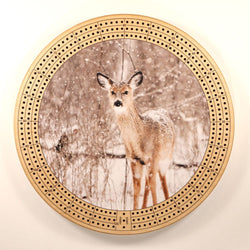 "Fawn In Winter Cribbage Board-Cribbage Boards-11.5"" Diameter-Maple Plywood-Wooden Gift House"