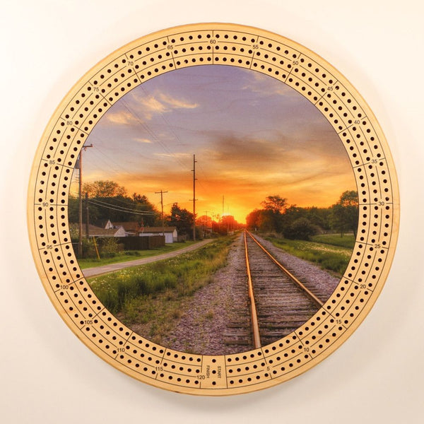 "Sunset Cribbage Board-Cribbage Boards-11.5"" Diameter-Maple Plywood-Wooden Gift House"