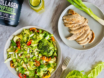 Chinese Chicken Salad with Matcha Sesame Dressing