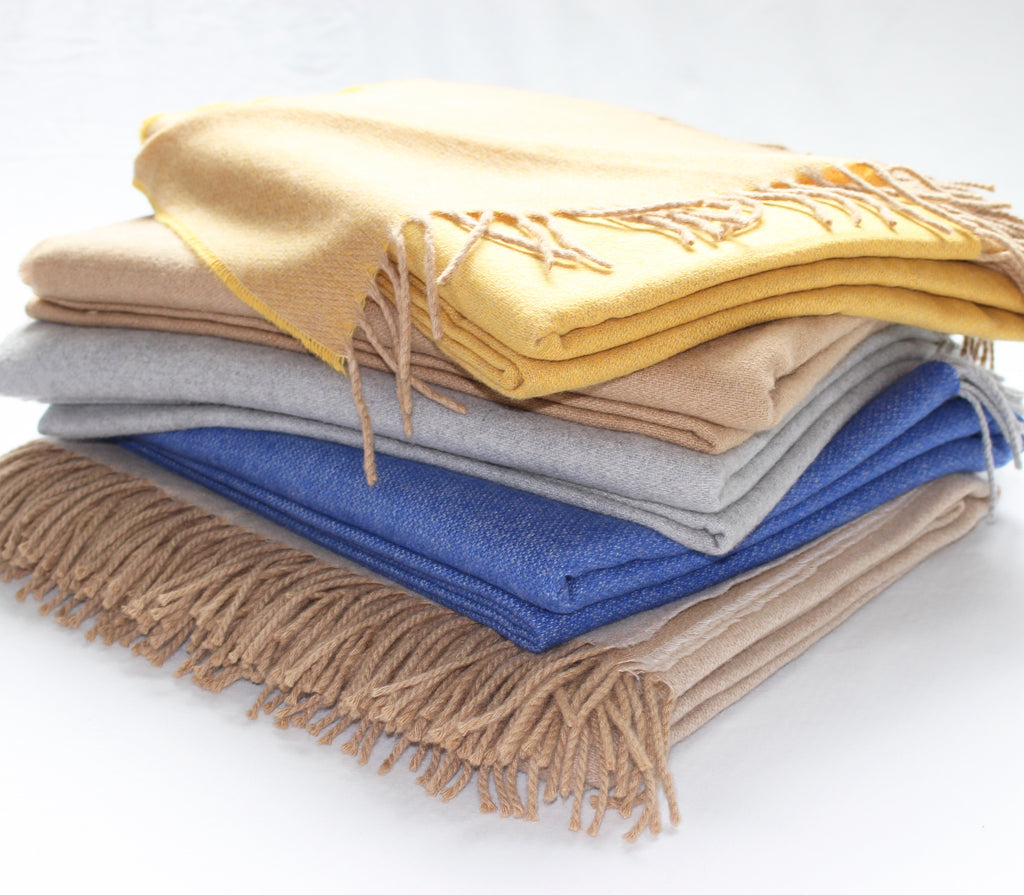 Cashmere Collection Throw Royal Blue/Grey Reverse