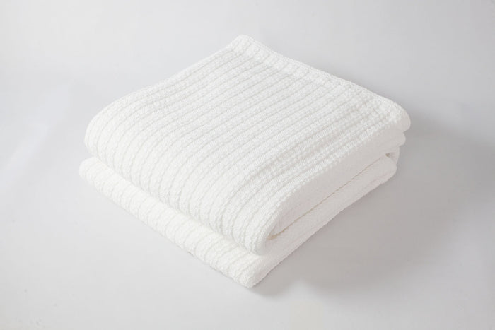 Cable Knit Baby Blanket Bright White