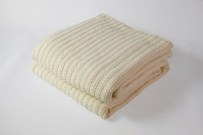 Cable Knit Baby Blanket Natural