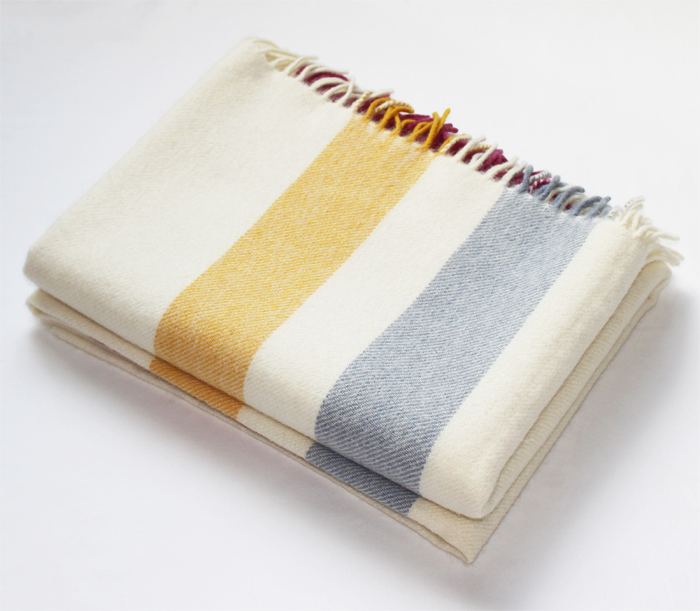 Cream Stripe Alpaca Throw