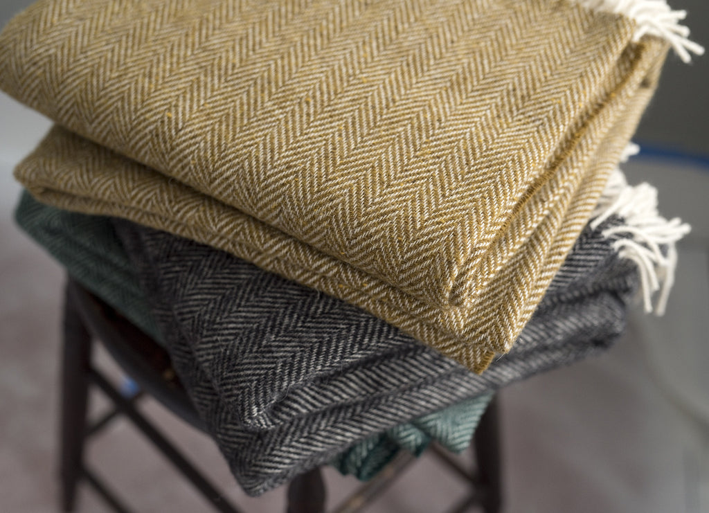 Petite Herringbone Heirloom Throw Moss