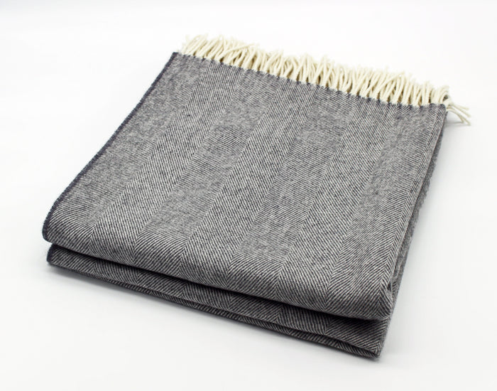 Merino Wool Collection Bed Throw in Heather Grey