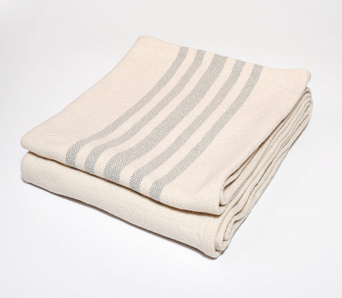 Multi Stripe Cotton Throw in Grey