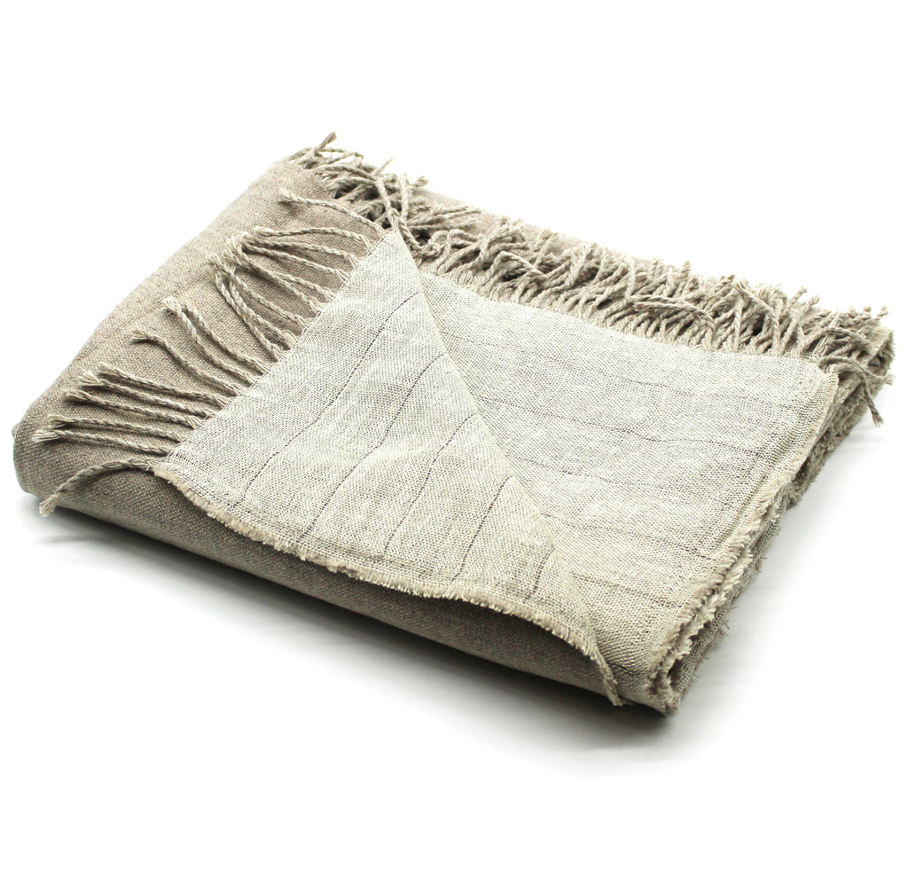 Linen/Merino Wool Reversible Throw in Linen
