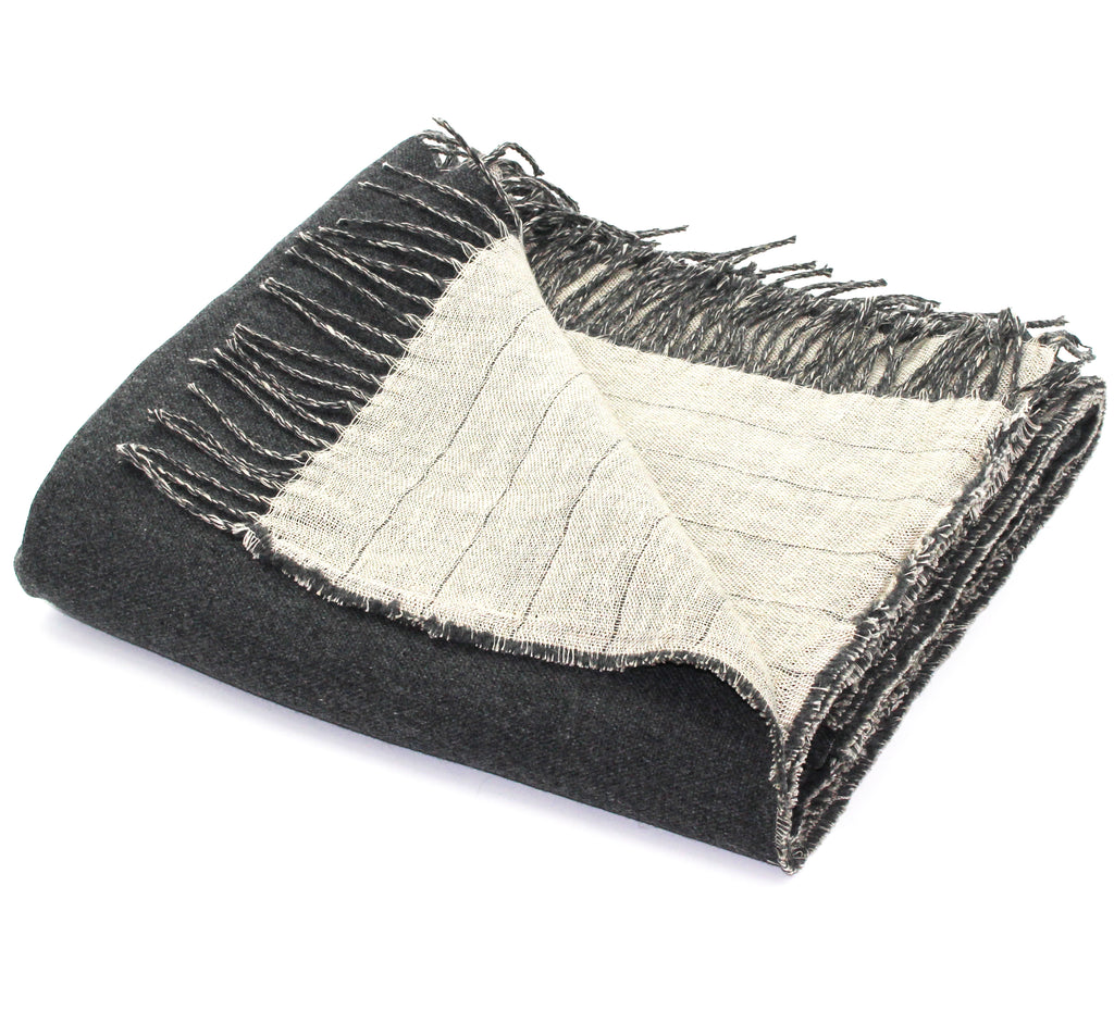 Linen/Merino Wool Reversible Throw in Charcoal