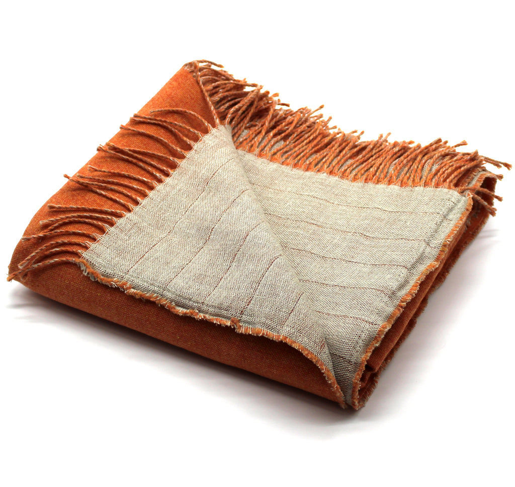 Linen/Merino Wool Reversible Throw in Orange
