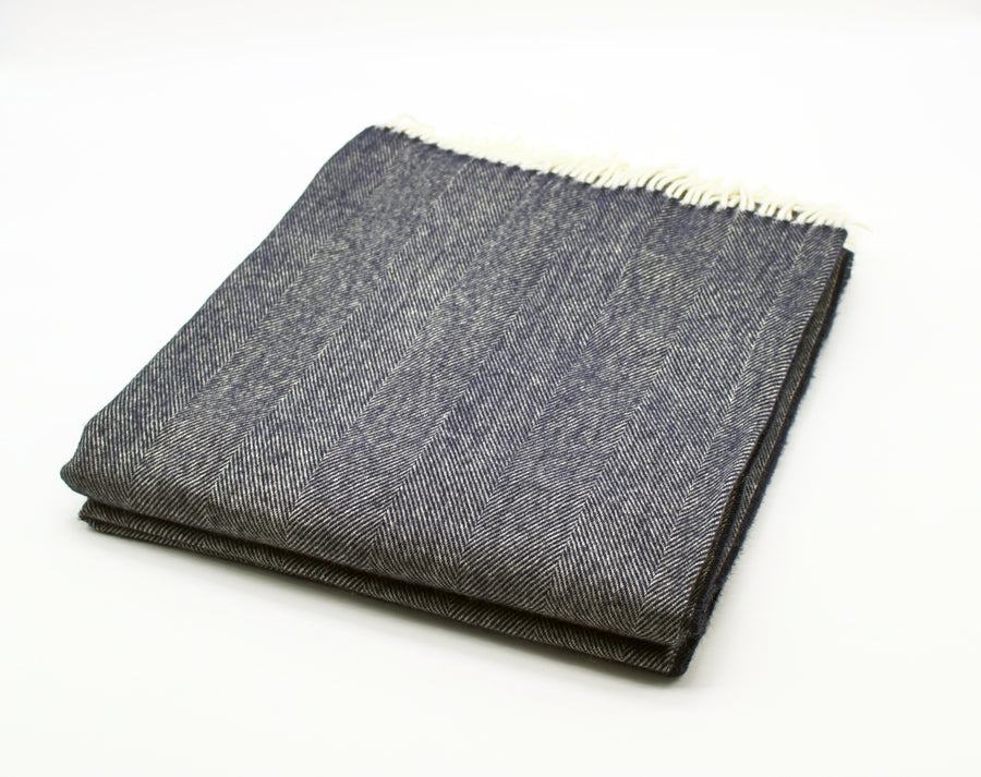 Merino Wool Collection Bed Throw in Indigo