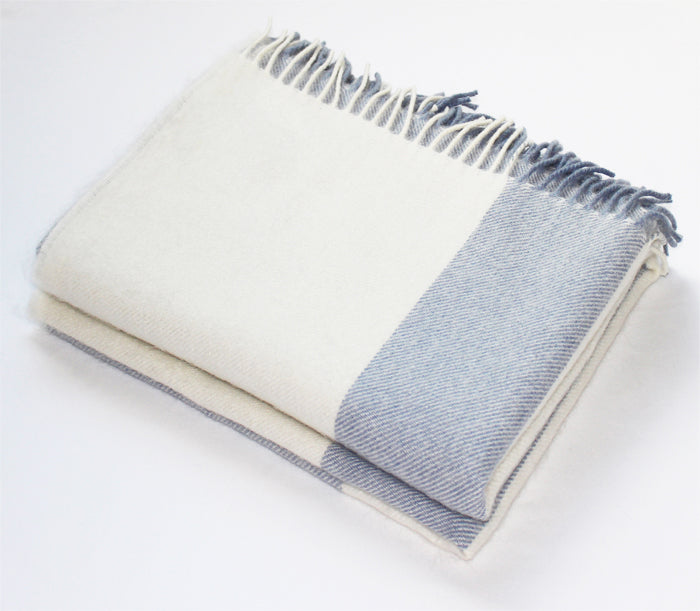 Light Blue Stripe Alpaca Throw