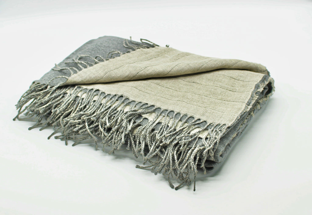 Linen/Merino Wool Reversible Throw in Grey