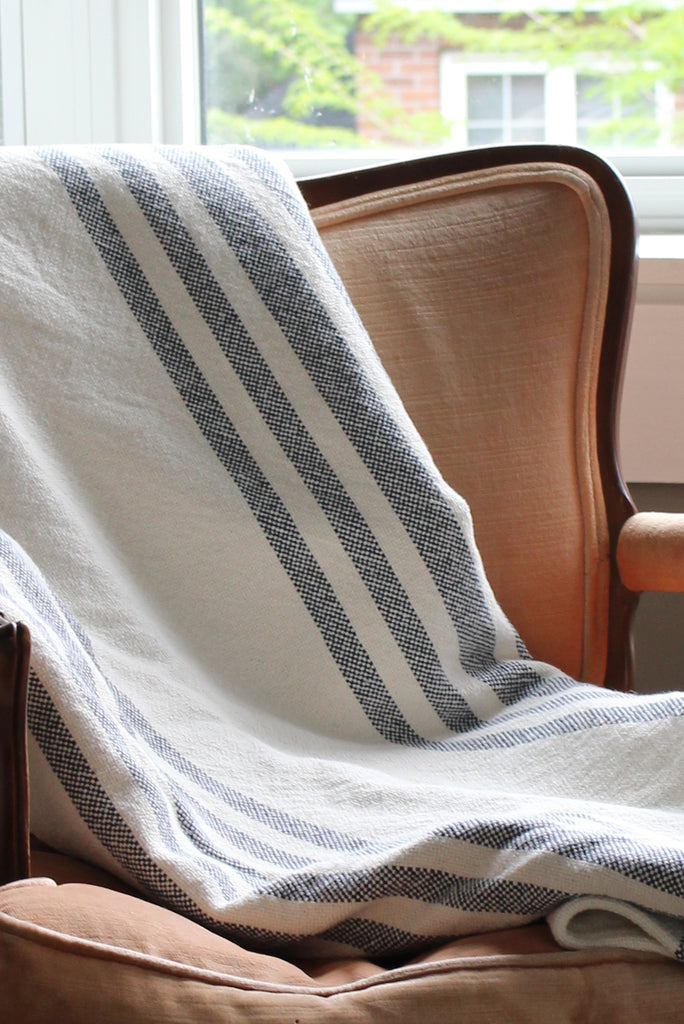 Stripe Cotton Throw in Navy