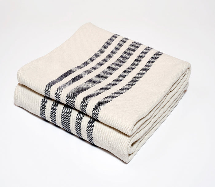 Multi Stripe Cotton Throw in Navy