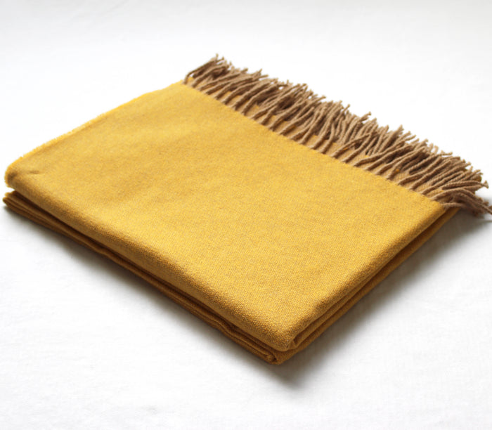 Cashmere Collection Throw Mustard/Sand Reverse