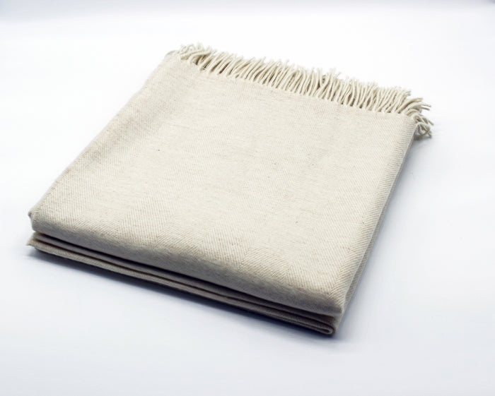 Merino Wool Collection Bed Throw in Oatmeal