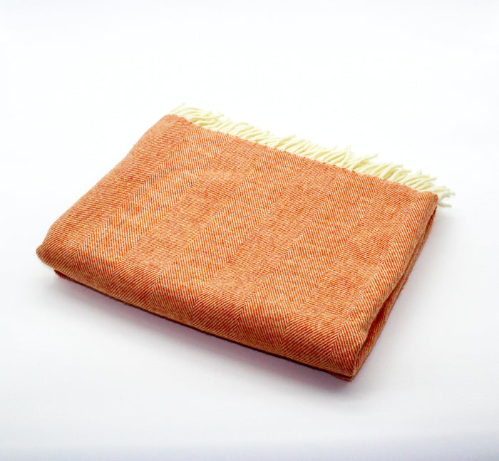 Merino Wool Collection Throw in Tangerine