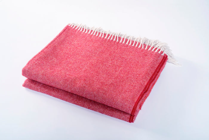 Merino Wool Collection Throw in Cranberry