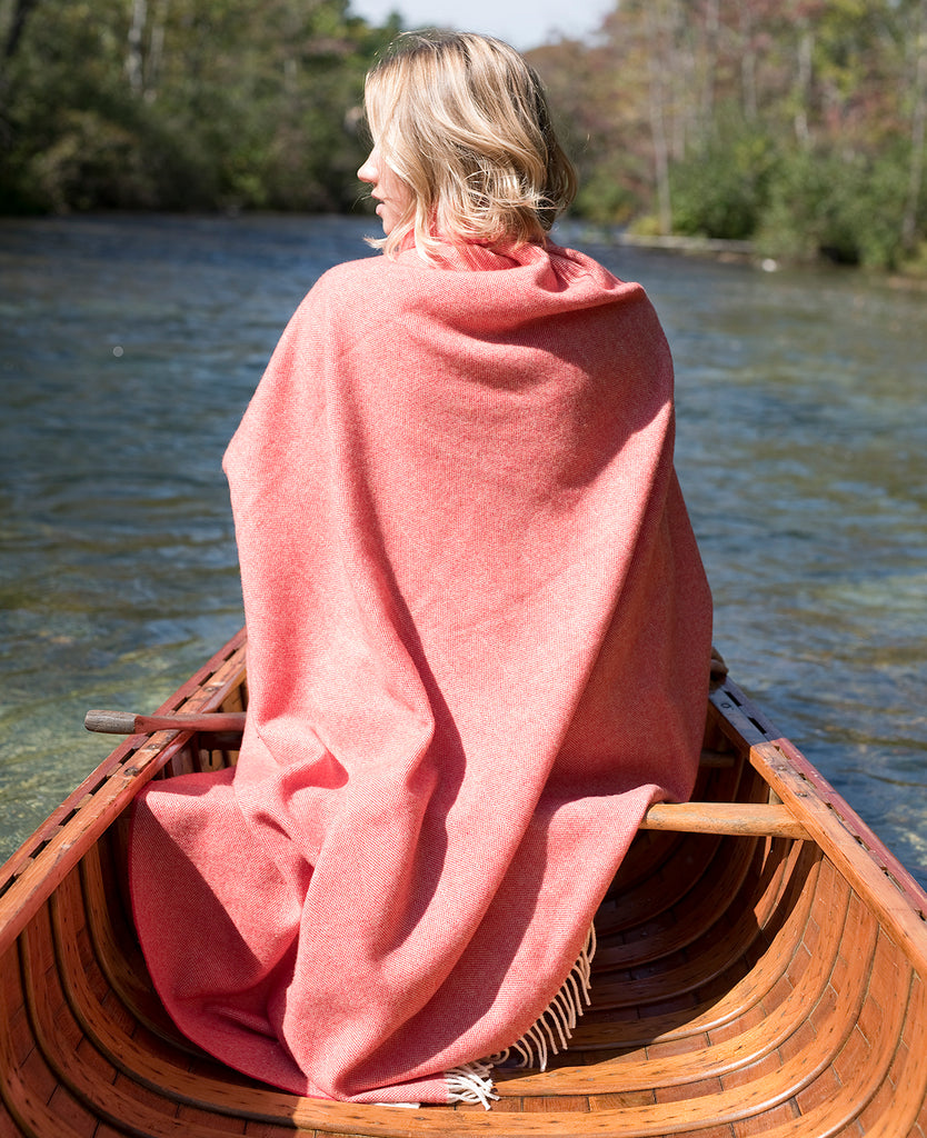 Merino Wool Collection Throw in Crimson