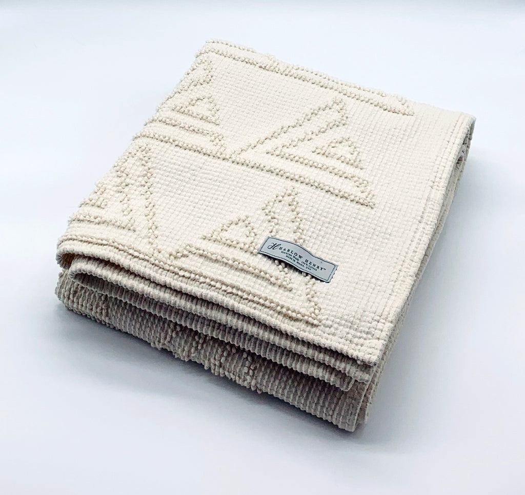 Triangles Cotton Throw in Grey/Natural