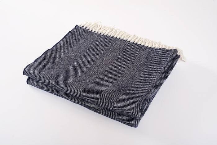 Merino Wool Collection Throw in Indigo