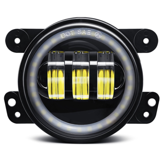 "4"" Round Jeep Wrangler LED Angel Eye Halo Fog Lights"