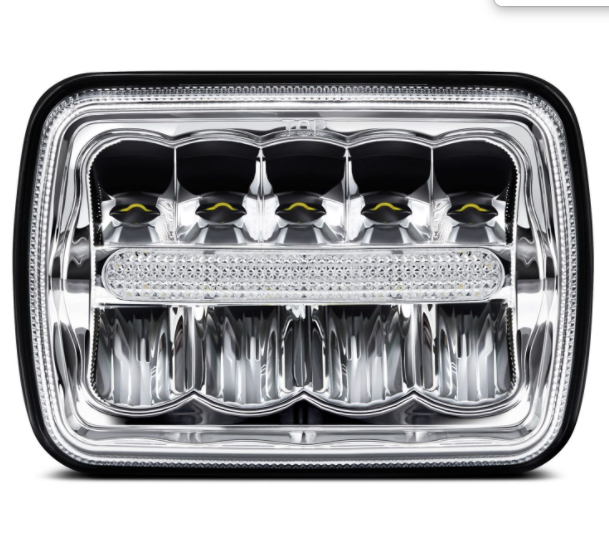 "5x7"" Rectangular LED Headlights for Jeep Wrangler YJ & Jeep Cherokee XJ - LED Center Bar Style"