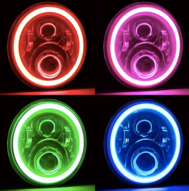 "7"" Jeep Wrangler LED Headlights - Color Changing Jeep Halos"
