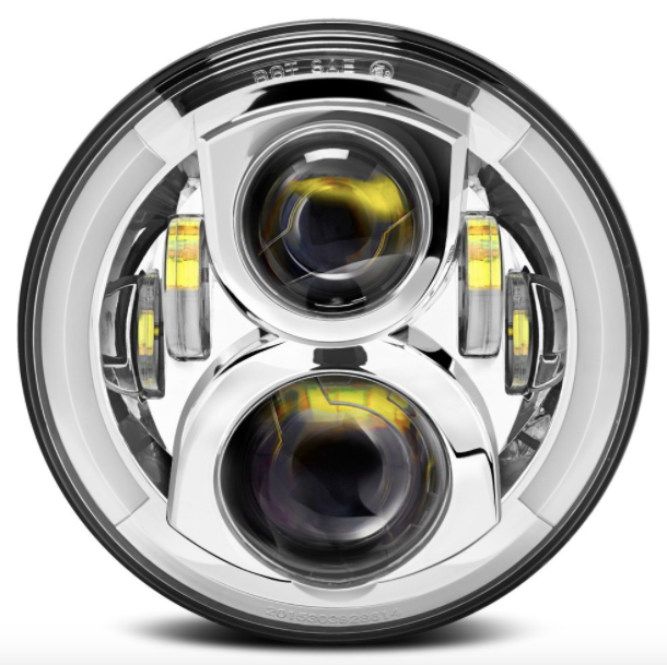 "7"" Round Jeep Wrangler LED Semi-Halo Headlights - Chrome"