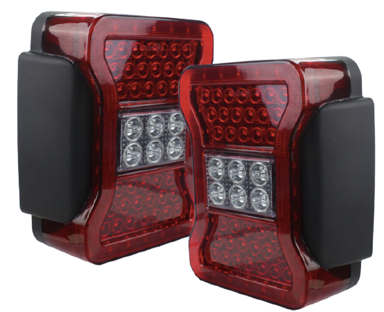 2007-2018 JK Jeep Wrangler LED Tail Lights - Clear Red